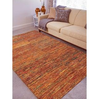 Hand-woven Menlo Park Orange Saree Silk Rug (5' x 8')