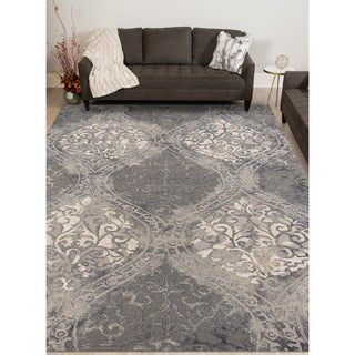Hand-tufted Naomi Steel Blue New Zealand Wool and Art Silk Rug (5' x 8')