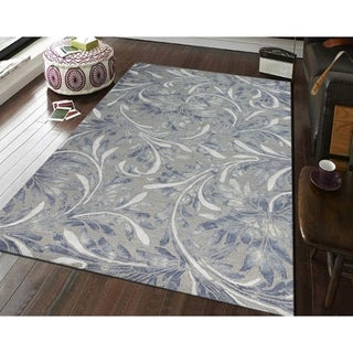 Hand-tufted Naomi Silver New Zealand Wool and Art Silk Rug - 5' x 8'