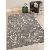 Hand-tufted Naomi Iron New Zealand Wool and Art Silk Rug - 5' x 8'