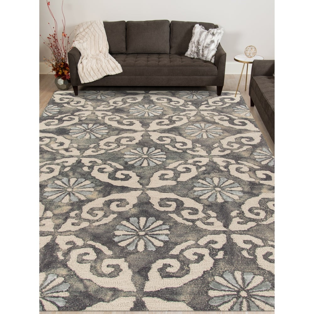 Naomi Hand Tufted Wool And Art Silk Area Rug Blue Grey 5 X 8 Surplus From Overstock Com Ibt Shop