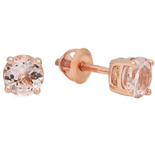 Elora 10k Rose Gold 5/8ct Round Cut Morganite Solitaire Stud Earrings (Pink, Moderately Included)