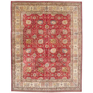 Ecarpetgallery Hand-knotted Persian Tabriz Red Wool Rug (11'5 x 14'5)