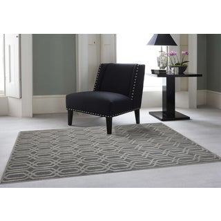 Hand-tufted Salome Stone Blue New Zealand Wool and Embossed Art Silk Rug (5' x 8')