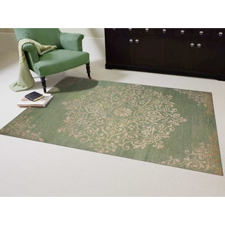 Hand-knotted Abner Grass Green Wool and Art Silk Rug (5 x 8)