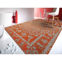 Hand-knotted Abner Orange Wool and Art Silk Rug - 5' x 8'