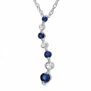Elora 10k White Gold 1/6ct TDW Round White Diamond and Blue Sapphire Journey Of Life Pendant (I-J and Blue