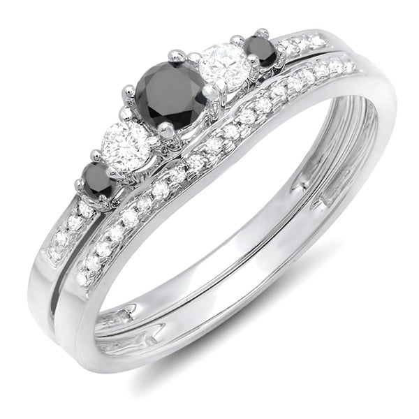 Elora 14k White Gold 1/2ct TDW Round Black/ White Diamond ...