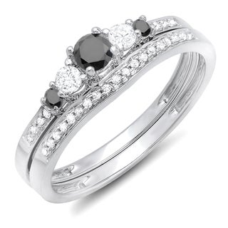 Elora 14k White Gold 1/2ct TDW Round Black/ White Diamond 5-stone Engagement Ring Set (H-I and Black, I1-I