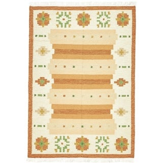 Unique Loom Orange Hand-woven Wool Kilim Dhurrie Contemporary Oriental Rug (4'7 x 6'7)