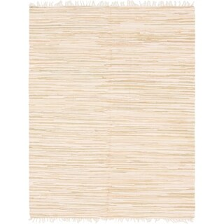 Ivory Hand-woven Kilim Dhurrie Contemporary Oriental Rug (6'7 x 9'10)
