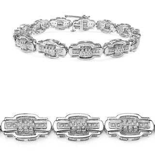 Malaika 14k White Gold over Silver 4/5ct TDW Diamond Bracelet