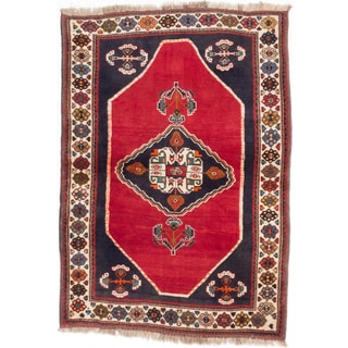Ecarpetgallery Hand-knotted Persian Shiraz Qashqai Red Wool Rug (4'3 x 5'10)