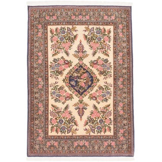 Ecarpetgallery Hand-knotted Persian Qum Beige Wool Rug (3'6 x 4'11)