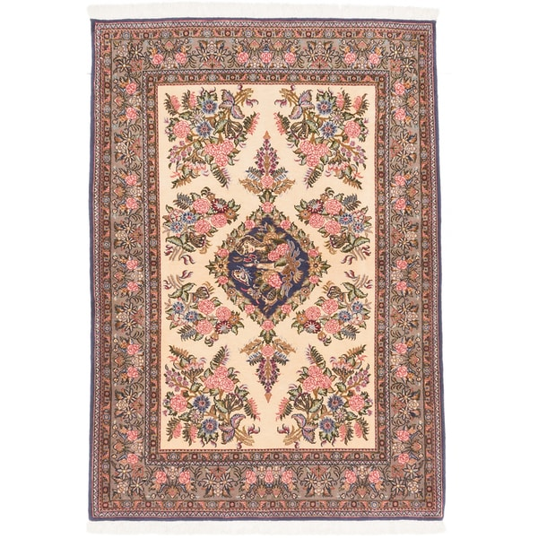 Shop Beige Wool Hand Knotted Oriental Persian Area Rug 6: Shop Ecarpetgallery Hand-knotted Persian Qum Beige Wool