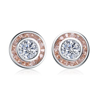 Collette Z Sterling Silver Clear and Champagne Cubic Zirconia Earrings