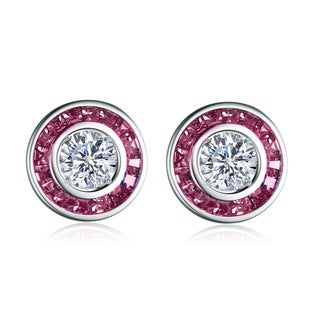 Collette Z Sterling Silver Clear and Red Cubic Zirconia Earrings