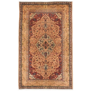 Ecarpetgallery Hand-knotted Persian Yazd Beige Yellow Wool Rug (3' x 4'11)