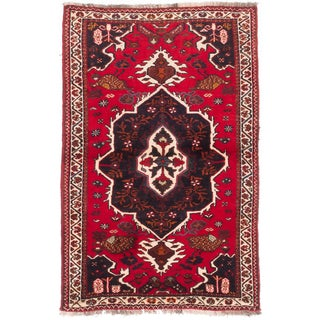 Ecarpetgallery Hand-knotted Persian Shiraz Qashqai Red Wool Rug (3'7 x 5'6)