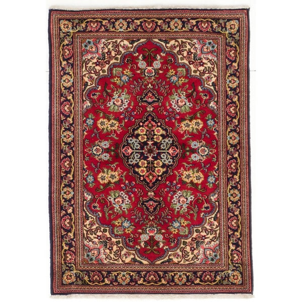 Shop Ecarpetgallery Hand Knotted Persian Kashan Red Wool: Shop Ecarpetgallery Hand-knotted Persian Qum Red Wool Rug