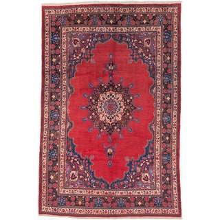 Ecarpetgallery Hand-knotted Persian Mood Birjand Red Wool Rug (7' x 10'5)