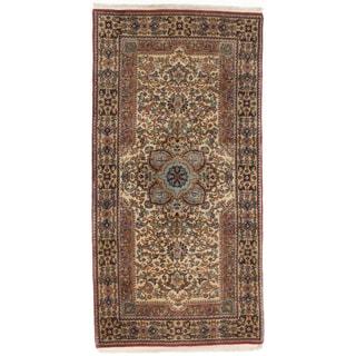 Ecarpetgallery Hand-knotted Persian Qum Beige Wool Rug (2'3 x 4'6)