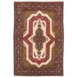 Ecarpetgallery Hand-knotted Persian Qum Beige Wool Rug (4'8 x 7')