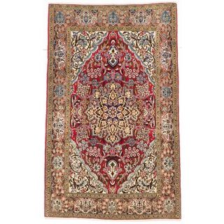 Ecarpetgallery Hand-knotted Persian Qum Red Wool Rug (3'6 x 5'7)
