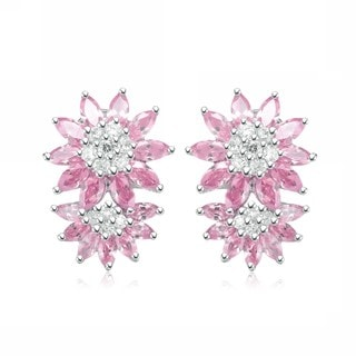 Collette Z Sterling Silver Clear and Pink Cubic Zirconia Flower Burst Earrings