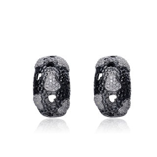 Collette Z Sterling Silver Black and Clear Cubic Zirconia Spotted Earrings