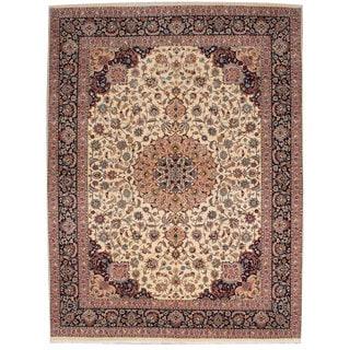 Ecarpetgallery Hand-knotted Persian Tabriz 50l Beige Wool Silk Rug (9'10 x 12'11)