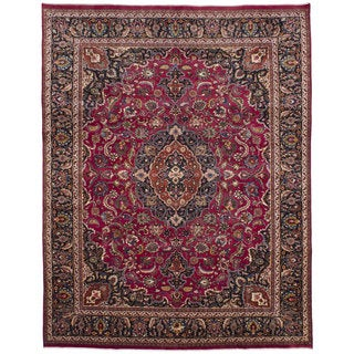 Ecarpetgallery Hand-knotted Persian Mashad Red Wool Rug (9'7 x 12'7)