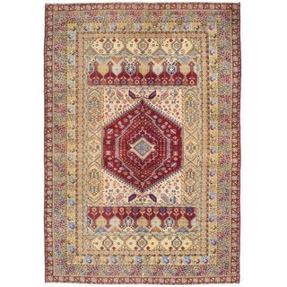 Ecarpetgallery Hand-knotted Persian Ardabil Red Yellow Wool Rug (6'8 x 9'5)