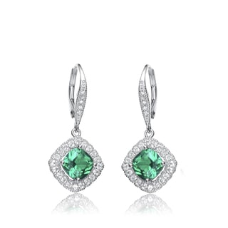 Collette Z Sterling Silver Genuine Green Cubic Zirconia Hook Earrings