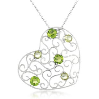 Collette Z Sterling Silver Genuine Peridot Stone Intricate Heart Necklace