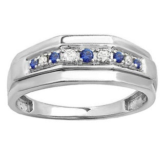 Elora Sterling Silver Round Blue Sapphire And 1 4ct TDW White Diamond Mens Wedding Band I J