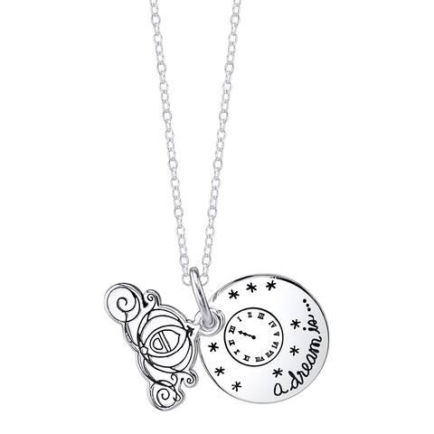 Disney Sterling Silver Cinderella Carriage Necklace