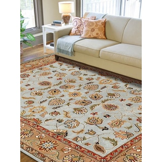 Hand-tufted Silas Blue and Beige New Zealand Wool Rug (7'6x9'6)