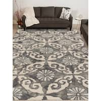 Hand-tufted Naomi Water Blue New Zealand Wool and Art Silk Rug - 9' x 13'