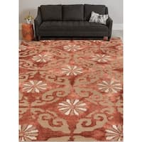 Hand-tufted Naomi Marsala Red New Zealand Wool and Art Silk Rug - 9' x 13'