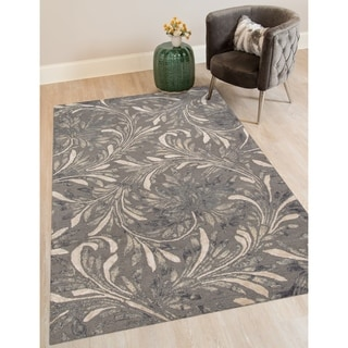 Hand-tufted Naomi Iron New Zealand Wool and Art Silk Rug (7'6 x 9'6)