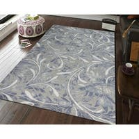 """Hand-tufted Naomi Silver New Zealand Wool and Art Silk Rug - 7'6"""" x 9'6"""""""
