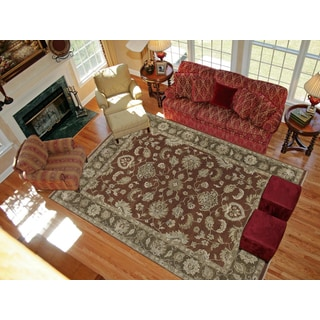 Hand-knotted Faith Red/ Brown New Zealand Wool Rug (10' x 14')