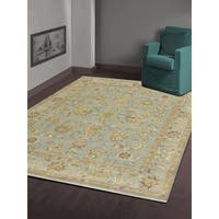 Hand-knotted Faith Ice Blue New Zealand Wool Rug (8' x 10')