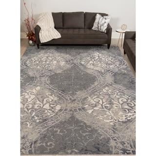 Hand-tufted Naomi Steel Blue New Zealand Wool and Art Silk Rug (7'6 x 9'6)