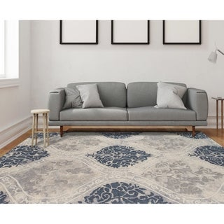 Hand-tufted Naomi Silver Sand New Zealand Wool and Art Silk Rug (7'6 x 9'6)