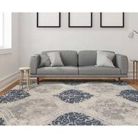 """Hand-tufted Naomi Silver Sand New Zealand Wool and Art Silk Rug - 7'6"""" x 9'6"""""""