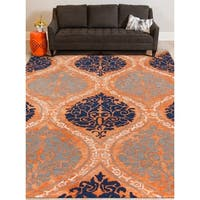 "Hand-tufted Naomi Orange New Zealand Wool and Art Silk Rug - 7'6"" x 9'6"""