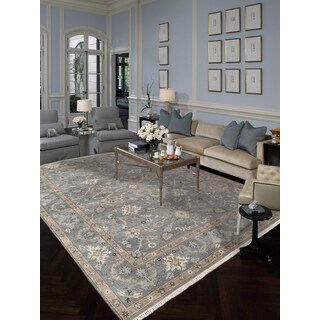 Hand-knotted Faith Foggy Grey New Zealand Wool Rug (10' x 14')