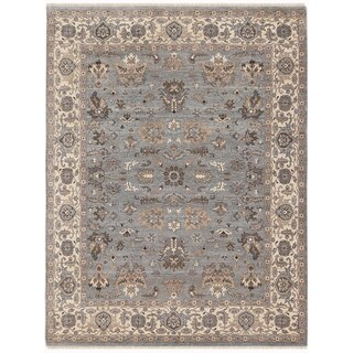 Hand-knotted Faith Grey/ Beige New Zealand Wool Rug (10' x 14')
